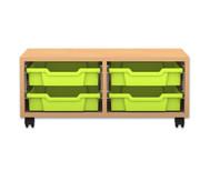 Flexeo Regal PRO, 2 Reihen, 4 kleine Boxen, HxBxT: 32,5 x 73,1 x 48 cm