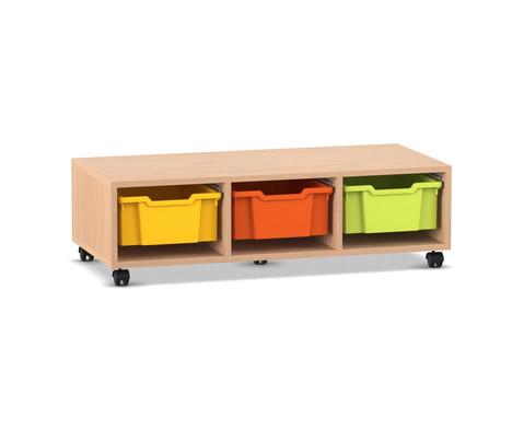 Flexeo Regal PRO mit 3 Reihen und 3 grossen Boxen