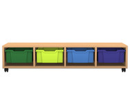 Flexeo Regal PRO, 4 Reihen, 4 große Boxen, HxBxT: 32,5 x 143,9 x 48 cm