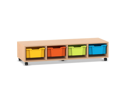 Flexeo Regal PRO mit 4 Reihen und 4 grossen Boxen