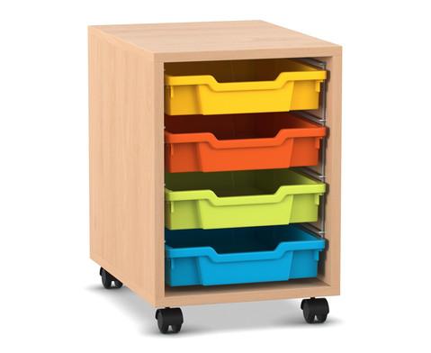 Flexeo Regal PRO 1 Reihe 4 kleine Boxen