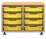Flexeo Regal PRO mit 2 Reihen und 8 kleinen Boxen
