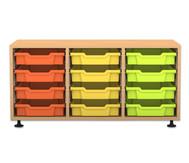 Flexeo Regal PRO, 3 Reihe, 12 kleine Boxen, HxBxT: 54,7 x 108,5 x  48 cm