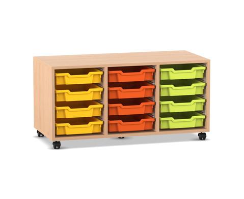 Flexeo Regal PRO mit 3 Reihen und 12 kleinen Boxen