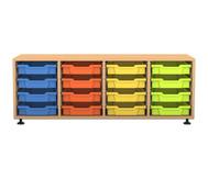 Flexeo Regal PRO, 4 Reihen, 16 kleine Boxen, HxBxT: 54,7 x 143,9 x 48 cm