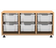 Flexeo Regal PRO, 3 Reihen, 6 große Boxen, HxBxT: 54,7 x 108,5 x 48 cm