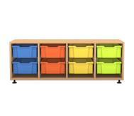 Flexeo Regal PRO, 4 Reihen, 8 große Boxen, HxBxT: 54,7 x 143,9 x 48 cm