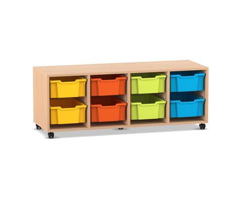 Flexeo Regal PRO mit 4 Reihen und 8 grossen Boxen