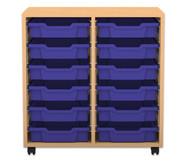 Flexeo Regal PRO, 2 Reihen, 12 kleine Boxen, HxBxT: 76,9 x 73,1 x 48 cm