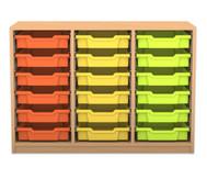Flexeo Regal PRO, 3 Reihen, 18 kleine Boxen, HxBxT: 76,9 x 108,5 x 48 cm