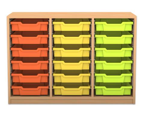 Flexeo Regal PRO mit 3 Reihen und 18 kleinen Boxen