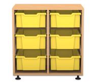 Flexeo Regal PRO, 2 Reihen, 6 große Boxen, HxBxT: 76,9 x 73,1 x 48 cm