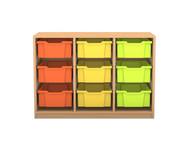 Flexeo Regal PRO, 3 Reihen, 9 große Boxen, HxBxT: 76,9 x 108,5 x 48 cm