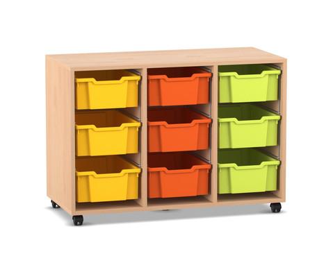 Flexeo Regal PRO mit 3 Reihen und 9 grossen Boxen
