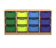 Flexeo Regal PRO, 4 Reihen, 12 große Boxen, HxBxT: 76,9 x 143,9 x 48 cm