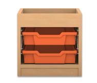 Flexeo Regal PRO, 1 Reihe, 2 kleine Boxen, mit Aufkantung, HxBxT: 38,5 x 37,7 x 48 cm