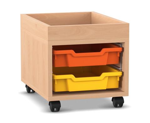 Flexeo Regal PRO mit 1 Reihe 2 Boxen Gr S und Aufkantung