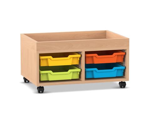 Flexeo Regal PRO mit 2 Reihen 2 Boxen Gr S und Aufkantung