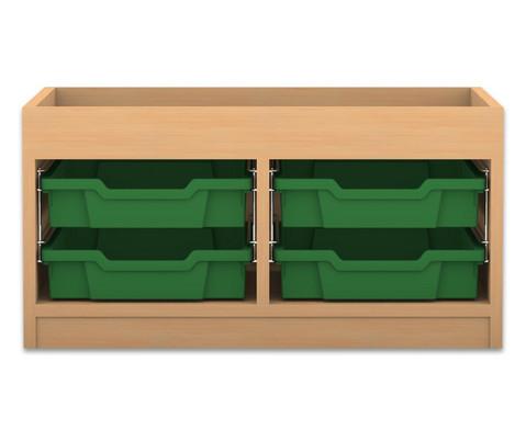 Flexeo Regal PRO mit 2 Reihen 2 kleinen Boxen und Aufkantung
