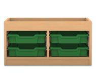 Flexeo Regal PRO mit 2 Reihen, 2 kleinen Boxen und Aufkantung