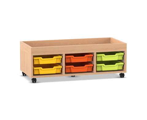 Flexeo Regal PRO mit 3 Reihen 6 Boxen Gr S und Aufkantung