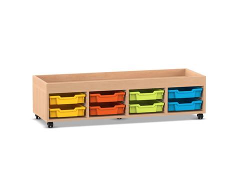Flexeo Regal PRO mit 4 Reihen 8 Boxen Gr S und Aufkantung