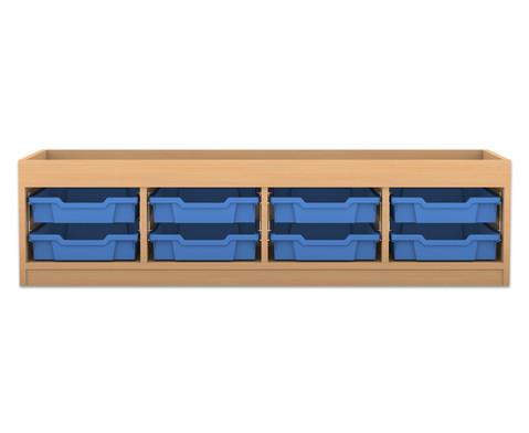Flexeo Regal PRO mit 4 Reihen 8 kleinen Boxen und Aufkantung