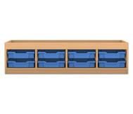 Flexeo Regal PRO mit 4 Reihen, 8 kleinen Boxen und Aufkantung