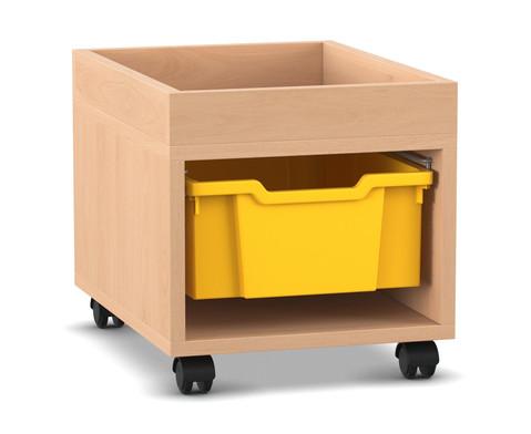 Flexeo Regal PRO mit 1 Reihe 1 grossen Boxen und Aufkantung