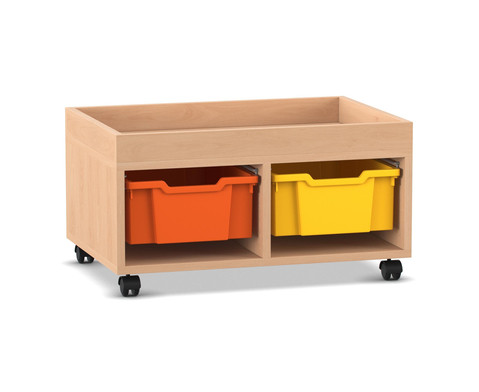 Flexeo Regal PRO mit 2 Reihen 2 grossen Boxen und Aufkantung