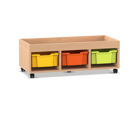 Flexeo Regal PRO mit 3 Reihen 3 grossen Boxen und Aufkantung