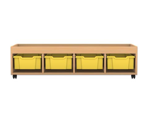 Flexeo Regal PRO mit 4 Reihen 4 grossen Boxen und Aufkantung