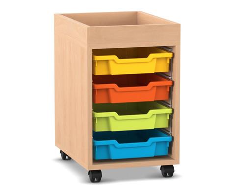 Flexeo Regal PRO mit 1 Reihe 4 kleinen Boxen und Aufkantung