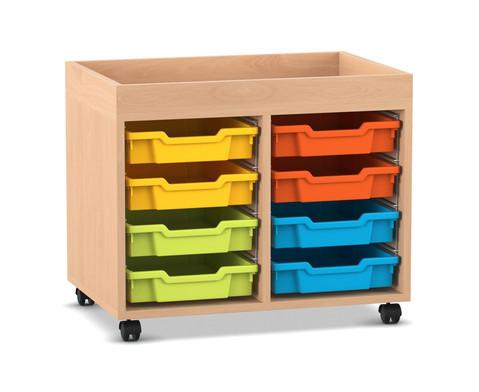 Flexeo Regal PRO mit 2 Reihen 8 Boxen Gr S und Aufkantung