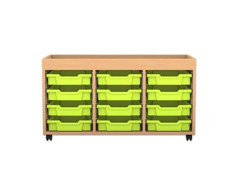 Flexeo Regal PRO mit 3 Reihen 12 kleinen Boxen und Aufkantung