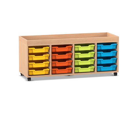 Flexeo Regal PRO mit 4 Reihen 16 kleinen Boxen und Aufkantung