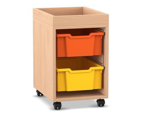 Flexeo Regal PRO mit 1 Reihe 2 grossen Boxen und Aufkantung