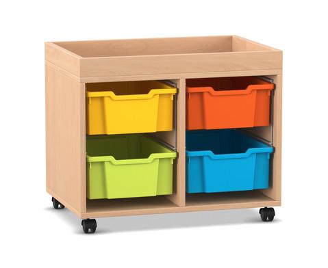 Flexeo Regal PRO mit 2 Reihen 4 grossen Boxen und Aufkantung