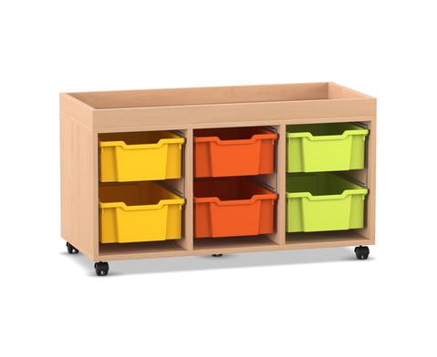 Flexeo Regal PRO mit 3 Reihen 6 grossen Boxen und Aufkantung