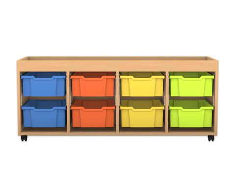 Flexeo Regal PRO mit 4 Reihen 8 grossen Boxen und Aufkantung
