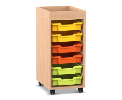 Flexeo Regal PRO mit 1 Reihe 6 kleinen Boxen und Aufkantung