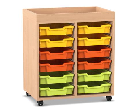Flexeo Regal PRO mit 2 Reihen 12 kleinen Boxen und Aufkantung