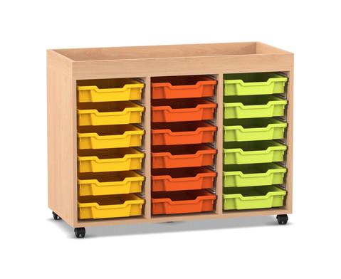 Flexeo Regal PRO 3 Reihen 18 kleine Boxen mit Aufkantung