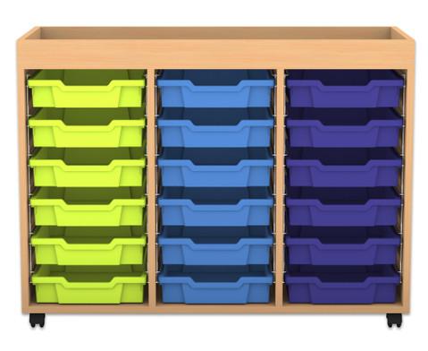Flexeo Regal PRO 3 Reihen 18 kleine Boxen mit Aufkantung HxBxT 829 x 1085 x 48 cm