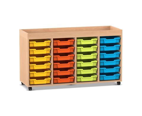 Flexeo Regal PRO mit 4 Reihen 24 kleinen Boxen und Aufkantung