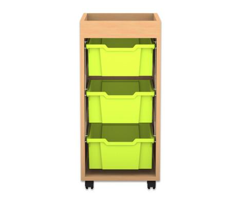 Flexeo Regal PRO 1 Reihe 3 grosse Boxen mit Aufkantung