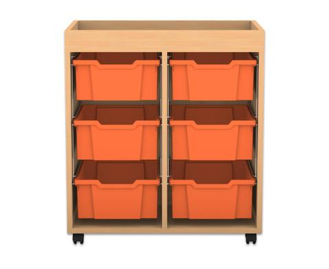 Flexeo Regal PRO mit 2 Reihen 6 grossen Boxen und Aufkantung