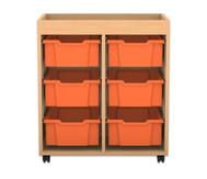 Flexeo Regal PRO mit 2 Reihen, 6 großen Boxen und Aufkantung