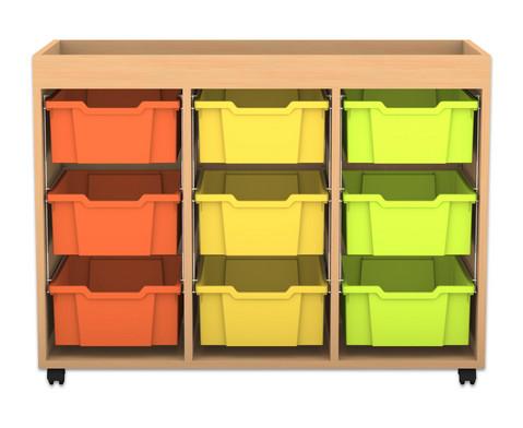Flexeo Regal PRO mit 3 Reihen 9 grossen Boxen und Aufkantung