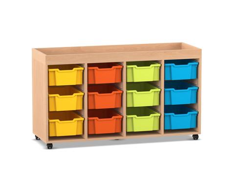 Flexeo Regal PRO mit 4 Reihen 12 grossen Boxen und Aufkantung